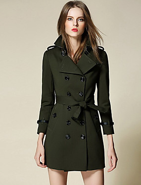 cheap Women's Clothing-Women's Trench Coat - Solid Colored Shirt Collar / Lantern Sleeve
