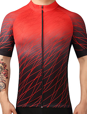 cheap Sports & Outdoors-FUALRNY® Men's Short Sleeve Cycling Jersey Gradient Bike Jersey Top Mountain Bike MTB Road Bike Cycling Quick Dry Sports 100% Polyester Clothing Apparel / High Elasticity