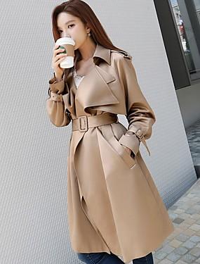 preiswerte Mode für Sie & Ihn-Damen - Solide Retro / Aktiv Festtage / Ausgehen / Arbeit Lang Trench Coat, Hemdkragen