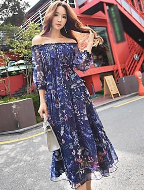 preiswerte Mode für Sie & Ihn-Damen Festtage / Ausgehen / Strand Boho A-Linie / Swing Kleid - Gerüscht, Blumen Midi Bateau