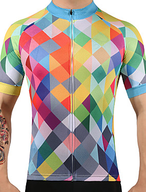 cheap Sports & Outdoors-FUALRNY® Men's Short Sleeve Cycling Jersey Argyle Bike Jersey Top Mountain Bike MTB Road Bike Cycling Quick Dry Sports 100% Polyester Clothing Apparel / High Elasticity