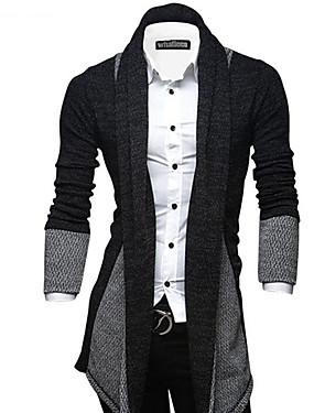 cheap Arabian Clothing-Men's Daily / Going out / Weekend Street chic Color Block Long Sleeve Slim Long Cardigan Sweater Jumper, Shirt Collar Fall / Winter Wine / Light gray / Dark Gray M / L / XL