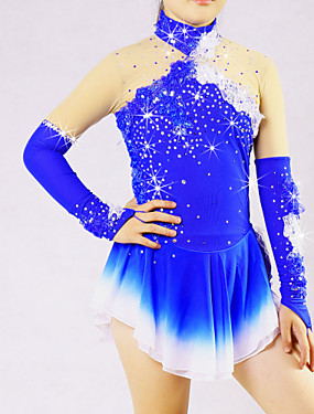 cheap Sports & Outdoors-Women's Ice Skating Skirt Dress Aquamarine Flower Spandex High Elasticity Competition Skating Wear Solid Colored Long Sleeve Ice Skating Skating Ice Skate