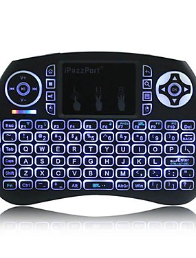 preiswerte 60% OFF-ipazzport mini 2.4ghz 0.2ms drahtlose tastatur tragbare luft maus mit touchpad 3-farbig hinterleuchtet für pc smart tv android tv box