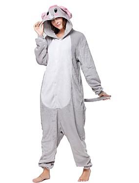 cheap Toys & Hobbies-Adults' Elephant Kigurumi Pajamas Onesie Pajamas Flannel Toison Gray Cosplay For Animal Sleepwear Cartoon Halloween Festival / Holiday / Christmas