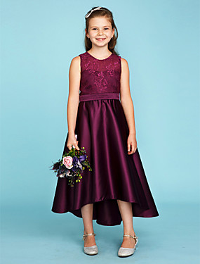 cheap The Wedding Store-Princess / A-Line Jewel Neck Asymmetrical Lace / Satin Junior Bridesmaid Dress with Sash / Ribbon / Wedding Party / See Through