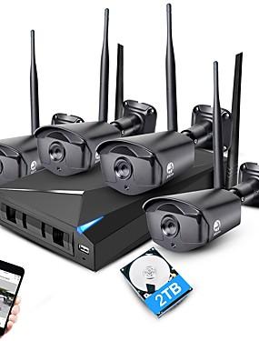 preiswerte JOOAN-jooan 4ch 1080p nvr drahtloses cctv-system 4 stücke 2mp ip kamera wifi ip66 wasserdichtes zu hause sicherheitsüberwachungsset mit 2 tb hdd kamerasystem bewegungserkennungsalarm