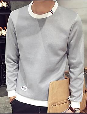 preiswerte Plus Size Kapuzenshirts für Herren-Herrn Schick & Modern Hose - Einfarbig Schwarz / Rundhalsausschnitt / Langarm / Frühling / Herbst