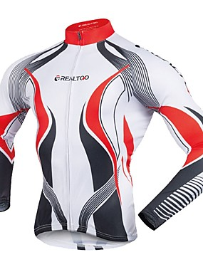 cheap Sports & Outdoors-Realtoo Men's Long Sleeve Cycling Jersey Winter Bike Jersey Top Mountain Bike MTB Road Bike Cycling Sports Clothing Apparel / Stretchy