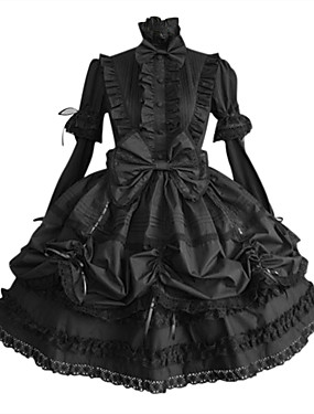 cheap Toys & Hobbies-Princess Gothic Lolita Punk Plus Size Dress Women's Girls' Cotton Japanese Cosplay Costumes Plus Size Customized Black Ball Gown Solid Colored Puff / Balloon Sleeve Long Sleeve Medium Length