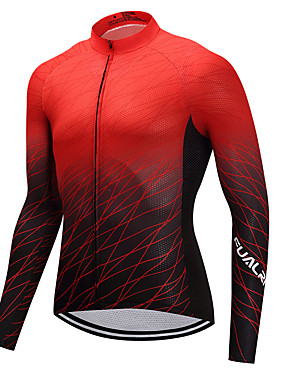 cheap Sports & Outdoors-FUALRNY® Men's Long Sleeve Cycling Jersey Winter Black / Red Yellow Pink Gradient Bike Jersey Mountain Bike MTB Road Bike Cycling Sports Clothing Apparel / High Elasticity