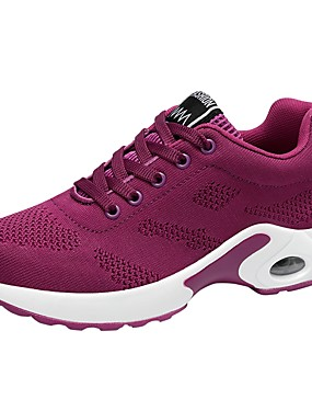 cheap Sports & Outdoors-Women's Trainers / Athletic Shoes Comfort Shoes Sporty Daily Going out Outdoor Solid Colored Knit Running Shoes / Walking Shoes Black / Purple / Red