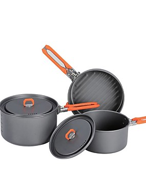cheap Sports & Outdoors-Camping Pot with Pan Cookware Sets 3 sets for 2 - 3 person Stainless Steel Hard Alumina Outdoor Camping / Hiking Camping Picnic