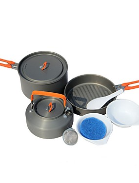 cheap Sports & Outdoors-Fire-Maple Camping Pot with Pan Cookware Sets 3 sets for 2 - 3 person Stainless Steel Hard Alumina Outdoor Camping / Hiking Camping Picnic