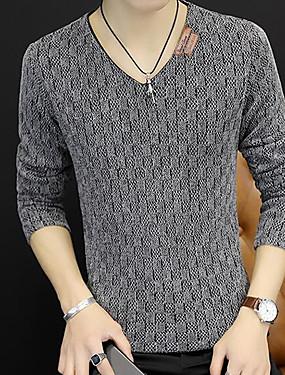 preiswerte Plus Size Sweatshirts für Herren-Herrn Alltag / Wochenende Solide Langarm Schlank Standard Pullover Pullover Jumper, V-Ausschnitt Herbst Schwarz / Blau / Rote M / L / XL