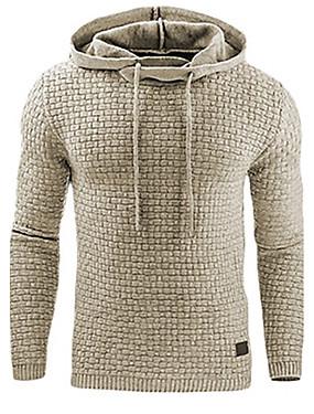 preiswerte Plus Size Kapuzenshirts für Herren-Herrn Aktiv / Grundlegend Übergrössen Hose - Solide überdimensional Dunkelgray / Mit Kapuze / Sport / Langarm / Frühling / Herbst