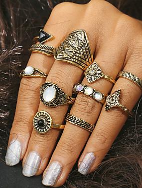 billige Fashion Rings-Dame Ring Turkis 10pcs Gull Sølv Turkis Legering Geometrisk Form Statement damer Daglig Smykker