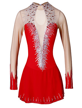 cheap Sports & Outdoors-Figure Skating Dress Women's Ice Skating Dress silvery white Yellow & Yellow Sky Blue Elastane Outdoor Competition Skating Wear Handmade Classic Long Sleeve Skating