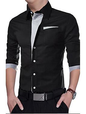 baratos Roupas Árabes-Homens Camisa Social Sólido Delgado Blusas Casual Branco Preto Vermelho / Primavera / Outono / Manga Longa