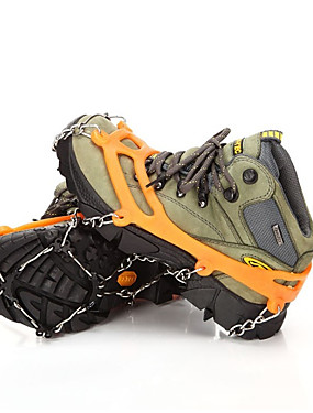 cheap Sports & Outdoors-Traction Cleats Crampons Outdoor Non-Slip Scratch Resistant Metalic Silicone Camping / Hiking Hiking Climbing 2 pcs Black Orange