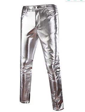 preiswerte Herren Hosen und Shorts-Herrn Street Schick / Punk & Gothic / Übertrieben Alltag Schlank Chinos Hose - Solide Frühling Herbst Gold Schwarz Silber XL XXL XXXL