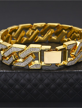 cheap Jewelry Deal-Men's Chain Bracelet Cuban Link Two tone cuff Luxury Rock Hip-Hop Street chic Dubai Gold Plated Bracelet Jewelry Gold / Silver For Casual Club