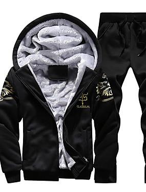 preiswerte Plus Size Kapuzenshirts für Herren-Herrn Sport Aktiv Langarm Mit Kapuze Kapuzenshirt - Druck, Druck / Winter