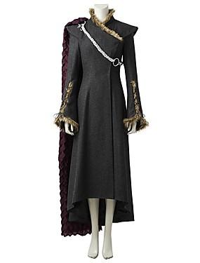 preiswerte Ausverkauf-Game of Thrones Drachenmutter Königin Daenerys Targaryen Kostüm Damen Film Cosplay Grau & Schwarz Kleid Umhang Mehre Accessoires Halloween Karneval Oktoberfest
