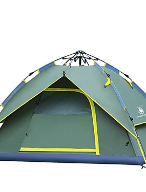 cheap Sports & Outdoors-HUILINGYANG 4 person Automatic Tent Outdoor Mountaineering Double Layered Camping Tent 1000-1500 mm for Camping / Hiking Fishing Beach