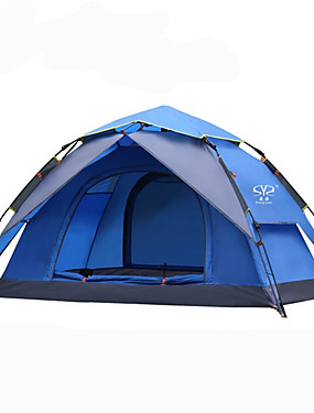 cheap Sports & Outdoors-Sheng yuan 2 person Backpacking Tent Outdoor Mountaineering Folding Double Layered Automatic Dome Camping Tent 2000-3000 mm for Outdoor Exercise Camping / Hiking / Caving Picnic Oxford cloth