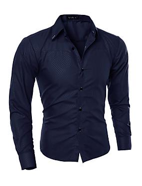 preiswerte Neu Eingetroffen-Herrn Verziert - Chinoiserie Arbeit Baumwolle Hemd Marineblau / Langarm