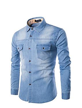 preiswerte Neu Eingetroffen-Herrn Solide Baumwolle Hemd Schlank Blau / Langarm
