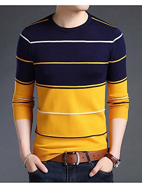 preiswerte Plus Size Sweatshirts für Herren-Herrn Alltag Grundlegend Druck Gestreift Langarm Standard Pullover Pullover Jumper, Rundhalsausschnitt Herbst / Winter Weiß / Blau / Kamel M / L / XL