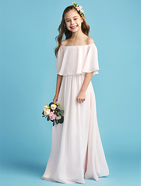 cheap The Wedding Store-A-Line Off Shoulder Floor Length Chiffon Junior Bridesmaid Dress with Pleats by LAN TING BRIDE®