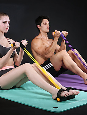 cheap Sports & Outdoors-Pedal Resistance Band Sit-up Pull Rope Natural Latex Bodybuilding Expander Sports Latex Home Workout Gym Pilates Strength Training Muscular Bodyweight Training Physical Therapy Weight Loss For Waist