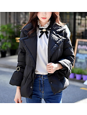 cheap Women's Clothing-Women's Daily / Work Vintage / Street chic / Sophisticated Solid Colored Regular Down, Polyester / Nylon Long Sleeve Black M / L / XL