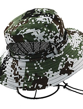 cheap Sports & Outdoors-Sun Hat Hiking Hat Boonie hat Hat Wide Brim Sunscreen UV Resistant Camo Cotton Spring Summer for Men's Women's Hunting Fishing Climbing Green Camouflage Blue