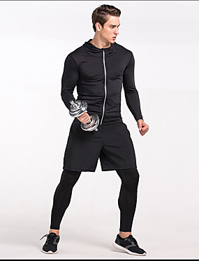 cheap Sports & Outdoors-Men's Running Shirt Long Sleeve Quick Dry Fast Dry Running Volleyball Sportswear Sweatshirt Black Grey Activewear