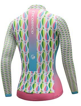 cheap Sports & Outdoors-CYCOBYCO Women's Long Sleeve Cycling Jersey Winter Fleece Polyester Sky Blue+White Plus Size Bike Sweatshirt Jersey Top Mountain Bike MTB Road Bike Cycling Quick Dry Reflective Strips Sports Clothing