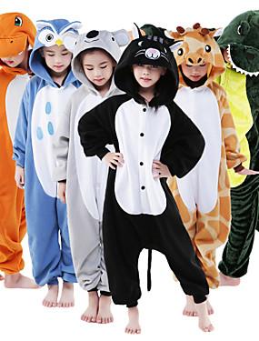 cheap Toys & Hobbies-Kid's Kigurumi Pajamas Giraffe Animal Onesie Pajamas Flannel Toison Green / White / Orange Cosplay For Boys and Girls Animal Sleepwear Cartoon Festival / Holiday Costumes