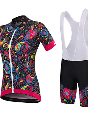 cheap Sports & Outdoors-Malciklo Women's Short Sleeve Cycling Jersey with Bib Shorts Black Orange+White White Floral Botanical Plus Size Bike Clothing Suit Breathable 3D Pad Quick Dry Anatomic Design Sports Bamboo-carbon