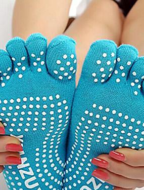 cheap Sports & Outdoors-Women's Yoga Socks Socks Toe Socks Breathable Wearable Non-Skid Sweat-wicking Comfortable Ballet Pilates Dance Barre 1 Pair Sports Winter Cotton Black Violet Light Blue / High Elasticity