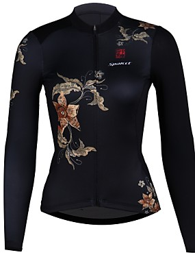 cheap Sports & Outdoors-SPAKCT Women's Long Sleeve Cycling Jersey Black Floral Botanical Bike Jersey Quick Dry Sports Elastane Polyster Mountain Bike MTB Road Bike Cycling Clothing Apparel / Stretchy / Expert / Expert