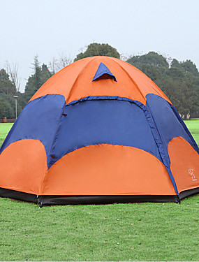 cheap Sports & Outdoors-Sheng yuan 4 person Tent with Mosquito Net Outdoor Waterproof Breathability Ultraviolet-Resistant Double Layered Poled Dome Camping Tent Hexagon Shape 1500-2000 mm Hiking Camping Oxford 240*240*135 cm