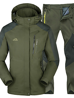 cheap Sports & Outdoors-Men's Hiking Jacket with Pants Winter Outdoor Thermal / Warm Waterproof Windproof Insulated Jacket Top Bottoms Skiing Camping / Hiking Hunting Green / Black Red+Black Green+Gray L XL XXL XXXL 4XL -