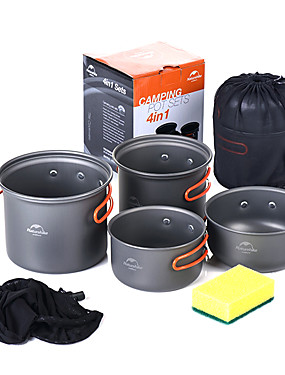 cheap Sports & Outdoors-Naturehike Camping Cookware Mess Kit Camping Pot Sets 10pcs Portable for 2 - 3 person Aluminium alloy Outdoor Camping / Hiking Picnic BBQ 2 * Camping Pot 1 * Bamboo Shovel 3 * Bowl 1 * Soup Ladle 2