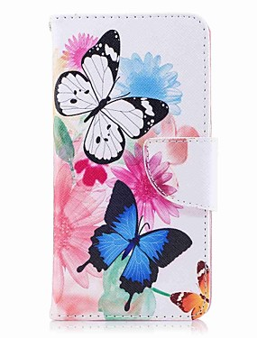 cheap Huawei Case-Case For Huawei P10 Plus / P10 Lite / P10 Wallet / Card Holder / with Stand Full Body Cases Butterfly Hard PU Leather