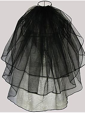 povoljno Trgovina vjenčanja-Three-tier Moderna / Vjenčanje / Simple Style Vjenčani velovi Elbow Burke s Šiške / Isprepleteni dijelovi Til / Angel cut / Vodopad