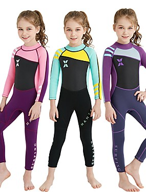 cheap Sports & Outdoors-Girls' Full Wetsuit 2mm SCR Neoprene Diving Suit UV Resistant High Elasticity Stretchy Long Sleeve Back Zip Patchwork / UPF50+
