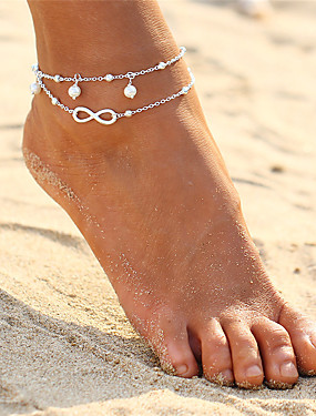 Softmusic Outdoor Holiday Beach Boho Beach Sandal Barefoot Infinity Charm Bead Ankle Bracelet 2 Layers Anklet